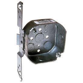 "Hubbell 161 Octagon Box 4"", 1-1/2"" Deep, 1/2"" Side Knockouts, Stud Bracket - Pkg Qty 50"