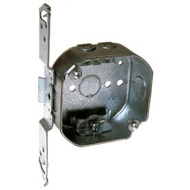 "Hubbell 164 Octagon Box 4"", 1-1/2""D, 1/2"" Side Knockouts,Nmsc Clamps, Stud Bracket - Pkg Qty 50"
