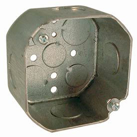 "Hubbell 166 Octagon Box 4"", 2-1/8"" Deep, 3/4"" Side Knockouts - Pkg Qty 50"