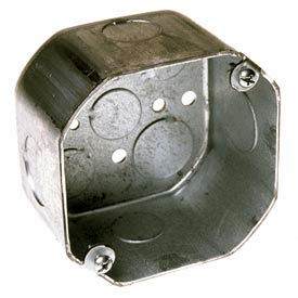 """Hubbell 167 Octagon Box 4"""", 2-1/8"""" Deep, 1/2"""" & 3/4"""" Side Knockouts - Pkg Qty 50"""
