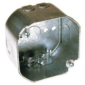 """Hubbell 175 Octagon Box 4"""", 2-1/8"""" Deep, 1/2"""" Side Knockouts, Nmsc Clamps - Pkg Qty 50"""