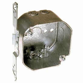 """Hubbell 177 Octagon Box 4"""", 2-1/8""""D, 1/2"""" Side Knockouts,Nmsc Clamps, Stud Bracket - Pkg Qty 25"""