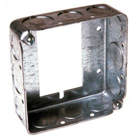 """Hubbell 187 Square Ext 4"""", 1-1/2""""Deep, 1/2""""& 3/4"""" Side Knockouts, Attach To Switch Box - Pkg Qty 25"""
