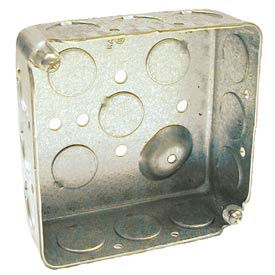 "Hubbell 190 Square Box 4"", 1-1/2"" Deep, 1/2"" Side Knockouts, Drawn - Pkg Qty 50"