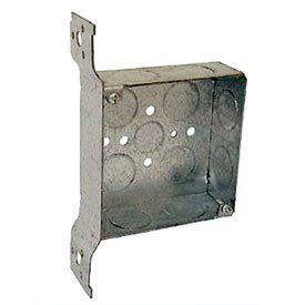 "Hubbell 199 Square Box 4"", 1-1/2"" Deep, 3/4"" Side Knockouts, Stud Bracket, Welded - Pkg Qty 25"