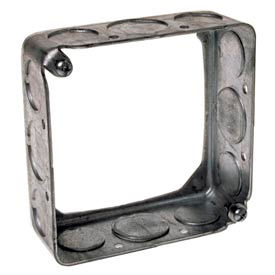 """Hubbell 203 Square Extension 4"""", 1-1/2"""" Deep, 1/2"""" & 3/4"""" Side Knockouts - Pkg Qty 50"""