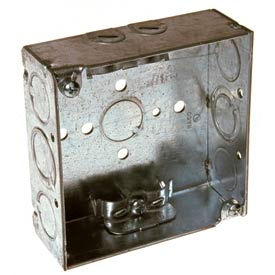 """Hubbell 211 Square Box 4"""", 1-1/2"""" Deep, 1/2"""" & 3/4"""" Side Knockouts, Nmsc Clamps, Welded - Pkg Qty 50"""
