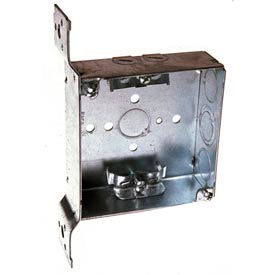"""Hubbell 223 Square Box 4"""", 1-1/2""""D, 1/2"""" & 3/4"""" Side Knockouts, Nmsc Clamps, Stud Bracket - Pkg Qty 25"""