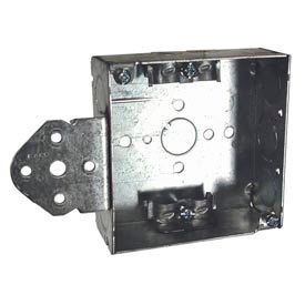 "Hubbell 225 Square Box 4"", 1-1/2""D, 1/2"" & 3/4"" Side Knockouts, Nmsc Clamps, Stud Bracket - Pkg Qty 25"