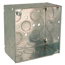 """Hubbell 232 Square Box 4"""", 2-1/8"""" Deep, 1/2"""" & 3/4"""" Side Knockouts, Welded - Pkg Qty 25"""