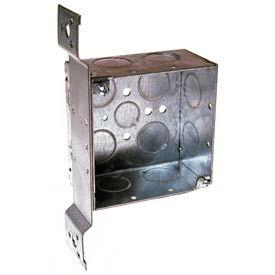 "Hubbell 236 Square Box 4"", 2-1/8"" Deep, 3/4"" Side Knockouts, Stud Bracket, Welded - Pkg Qty 25"