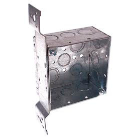 """Hubbell 237 Square Box 4"""", 2-1/8"""" Deep, 1/2"""" & 3/4"""" Knockouts, Stud Bracket, Welded - Pkg Qty 25"""