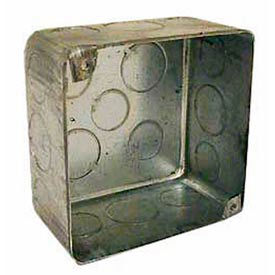 """Hubbell 239 Square Box 4"""", 2-1/8"""" Deep, 1/2"""" & 3/4"""" Side Knockouts, For Plenum Box, Drawn - Pkg Qty 25"""