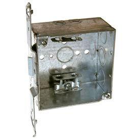 "Hubbell 241 Square Box 4"", 2-1/8""D, 1/2"" & 3/4"" Side Knockout, Mc/Bx Clamps, Stud Bracket - Pkg Qty 25"