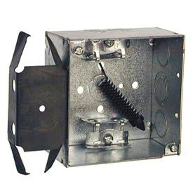 "Hubbell 243 Square Box 4"", 2-1/8""D, 1/2"" & 3/4"" Side Knockout, Mc/Bx Clamps, Stud Bracket - Pkg Qty 25"