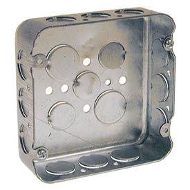 "Hubbell 245 Square Box 4-11/16"", 1-1/2"" Deep, 1/2"" Side Knockouts, Drawn - Pkg Qty 25"