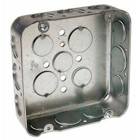 "Hubbell 247 Square Box 4-11/16"", 1-1/2"" Deep, 1/2"" & 3/4"" Side Knockouts, Drawn - Pkg Qty 25"