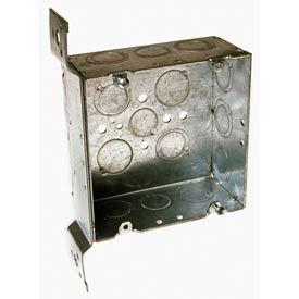 "Hubbell 254 Square Box 4-11/16"", 2-1/8"" Deep, 1/2"" & 3/4"" Side Knockouts, Stud Bracket - Pkg Qty 25"