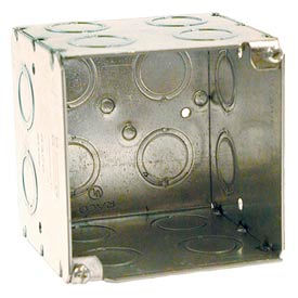 "Hubbell 256 Square Box 4"", 3-1/2"" Deep,1/2""& 3/4"" Side Knockouts, Large Capacity Box - Pkg Qty 25"