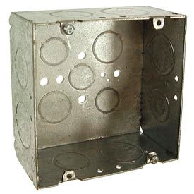 """Hubbell 265 Square Box 4-11/16"""", 2-1/8"""" Deep, 3/4"""" & 1"""" Side Knockouts, Welded - Pkg Qty 25"""