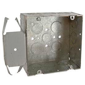 "Hubbell 266 Square Box 4-11/16"", 2-1/8"" Deep, 1/2"" & 3/4"" Side Knockouts, Stud Bracket - Pkg Qty 25"