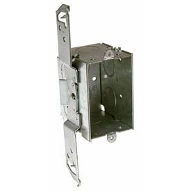 "Hubbell 504 Switch Box 3""X2"", 2-1/2""D, Gangable, 1/2"" End Knockouts, Stud Bracket - Pkg Qty 50"