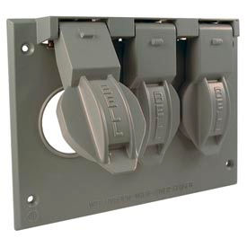 "Hubbell 5093-0 Three Gang Weatherproof Box Mount Cover (3) 1.406"" Diameter"