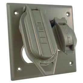 "Hubbell 5098-0 Two Gang Weatherproof Box Mount Cover Duplex & 1.406"" Diameter - Pkg Qty 12"
