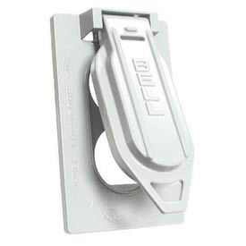 Hubbell 5146-1 Weatherproof Single Gang Vertical Device Mount Cover Duplex White - Pkg Qty 24