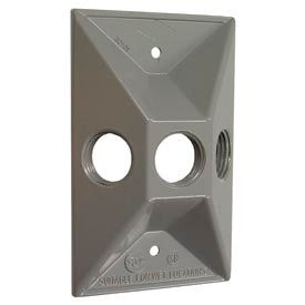 Hubbell 5189-0 Weatherproof Cover Rectangular Cluster, Three Hole, Gray, Shrink - Pkg Qty 20