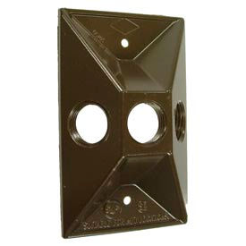 Hubbell 5189-2 Weatherproof Cover Rectangular Cluster, Three Hole, Bronze, Shrink - Pkg Qty 20