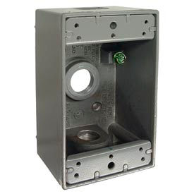 """Hubbell 5320-0 Single Gang Weatherproof Box 3-1/2"""" Outlets, Gray - Pkg Qty 20"""