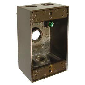 "Hubbell 5321-2 Single Gang Weatherproof Box 4-1/2"" Outlets, Bronze - Pkg Qty 20"