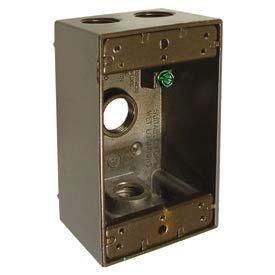 "Hubbell 5321-2 Single Gang Weatherproof Box 4-1/2"" Outlets, Bronze - Pkg Qty 20"