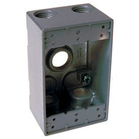 """Hubbell 5331-0 Single Gang Weatherproof Box 5-3/4"""" Outlets, Gray - Pkg Qty 20"""