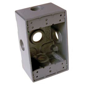 """Hubbell 5332-0 Single Gang Weatherproof Box 5-3/4"""" Outlets Gray - Pkg Qty 20"""