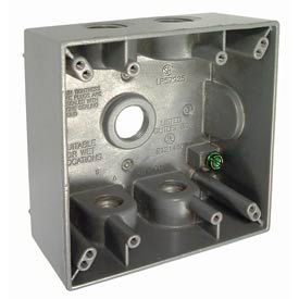 """Hubbell 5337-0 Two Gang Weatherproof Box 5-1/2"""" Outlets Gray - Pkg Qty 12"""