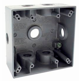 "Hubbell 5338-0 Two Gang Weatherproof Box 7-1/2"" Outlets, 31 Cubic In., Gray - Pkg Qty 12"