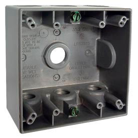"Hubbell 5340-0 Two Gang Weatherproof Box 7-1/2"" Outlets, 30.2 Cubic In., Gray - Pkg Qty 12"