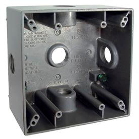 """Hubbell 5342-0 Two Gang Weatherproof Box 5-3/4"""" Outlets, 32 Cubic In., Gray - Pkg Qty 12"""