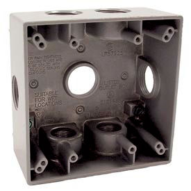"""Hubbell 5346-0 Two Gang Weatherproof Box 7-3/4"""" Outlets, 31 Cubic In., Gray - Pkg Qty 12"""