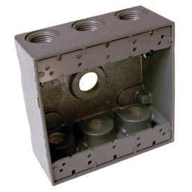 """Hubbell 5348-0 Two Gang Weatherproof Box 7-3/4"""" Outlets, 30.2 Cubic In., Gray - Pkg Qty 12"""