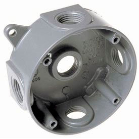 """Hubbell 5361-0 4"""" Round Weatherproof Splice Box 5-1/2"""" Outlets Gray - Pkg Qty 16"""