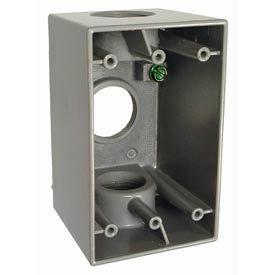 "Hubbell 5387-0 Single Gang Deep Weatherproof Box 3-1"" Outlets Gray - Pkg Qty 15"