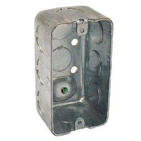 "Hubbell 611 Handy Box 4""X2"", 1-7/8"" Deep, 1/2"" End Knockouts, W/Ground Screw, Drawn - Pkg Qty 50"