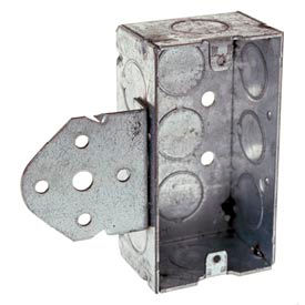 "Hubbell 655 Handy Box 4""X2"", 1-1/2"" Deep, 1/2"" End Knockouts, Stud Bracket, Welded - Pkg Qty 50"