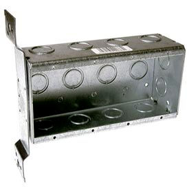"Hubbell 687 4 Device Box, 2-1/2""D, 1/2""&3/4"" Side Knockouts, Stud Bracket, Welded - Pkg Qty 10"