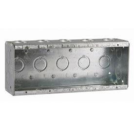 "Hubbell 694 Masonry Box, 5 Device, Non-Gangable, 2-1/2"" Deep, 1/2"" & 3/4"" End Knockouts - Pkg Qty 10"