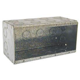 "Hubbell 698 Masonry Box, 4 Device, Non-Gangable, 3-1/2"" Deep, 1/2"" & 3/4"" End Knockouts - Pkg Qty 10"