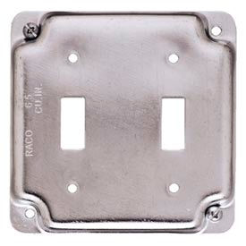 """Hubbell 803c 4"""" Square Exposed Work Cover, 2 Toggles - Pkg Qty 10"""